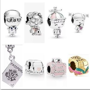 8 Pc Family Vacation 925 Silver Bead Charm Bundle